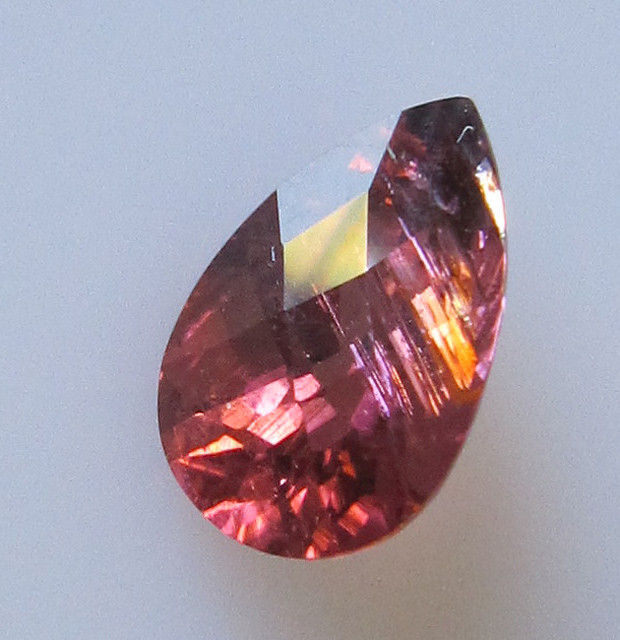 Rubelite Tourmaline Pear Checker Board Cut, 2.92cts