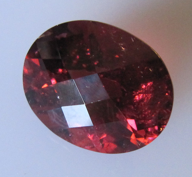 Rubelite Tourmaline Oval Checker Board Cut, 9.14cts