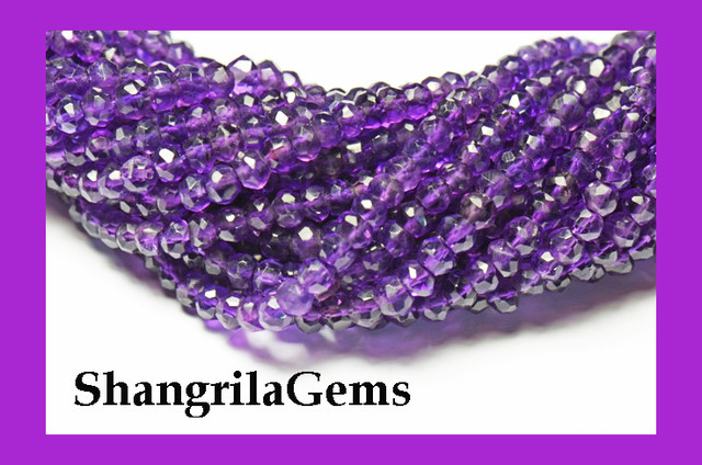 "AMETHYST faceted beads 3-3.5mm 14"" LINE AA Grade am013"