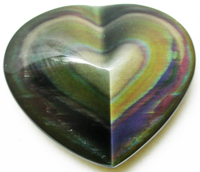 27.55 CTS  RAINBOW OBSIDIAN HEARTS -IRIDESCENCENT [MGW2509]
