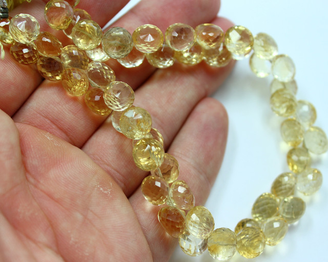 191 CTS CITRINE BEADS STRAND NATURAL FACETED RONDELLS