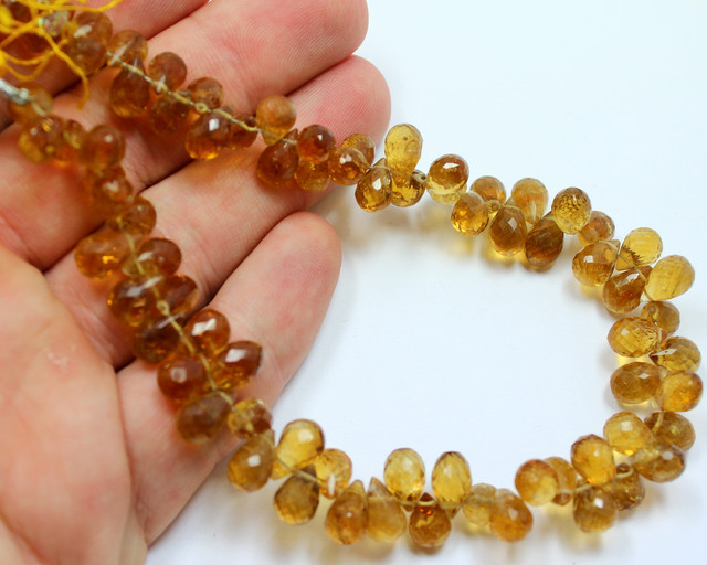 160 CTS CITRINE BEADS STRAND NATURAL FACETED STONES