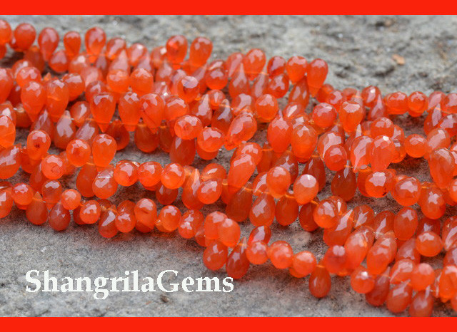 Carnelian briolettes 8mm to 10mm Classic 9