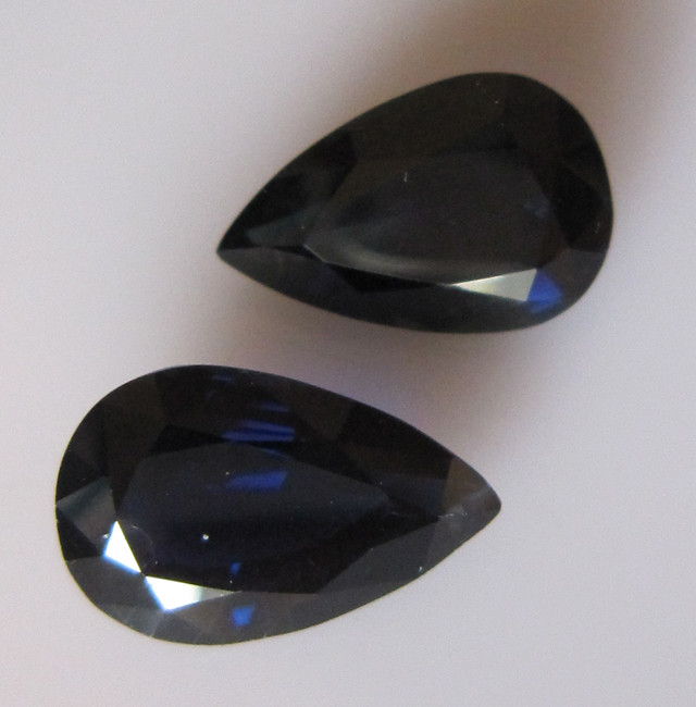 13.62ct Natural Australian Blue Matching Pear Shape Sapphire