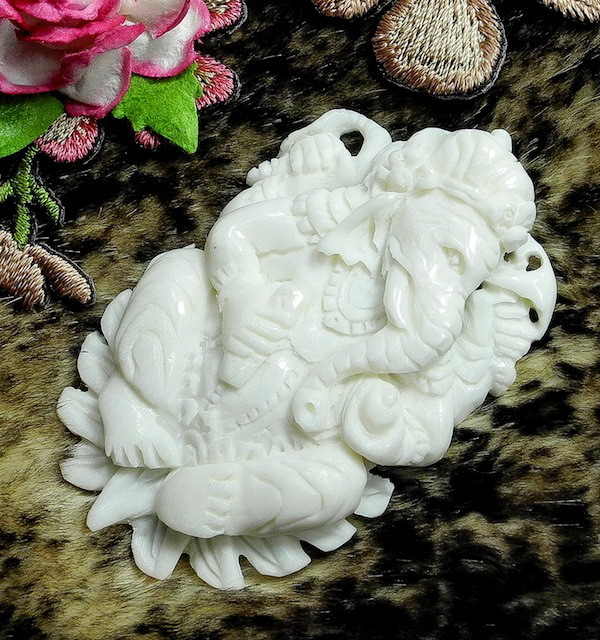 Ganesha #2, Amulet Bone Cameo Carving, NEW LOW PRICE!