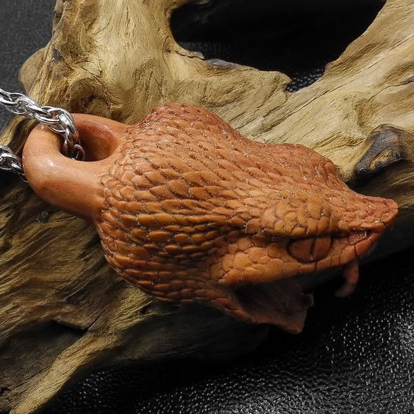 Jumbo Viper Head Pendant, Focal Bead, Wood Carving 2.25