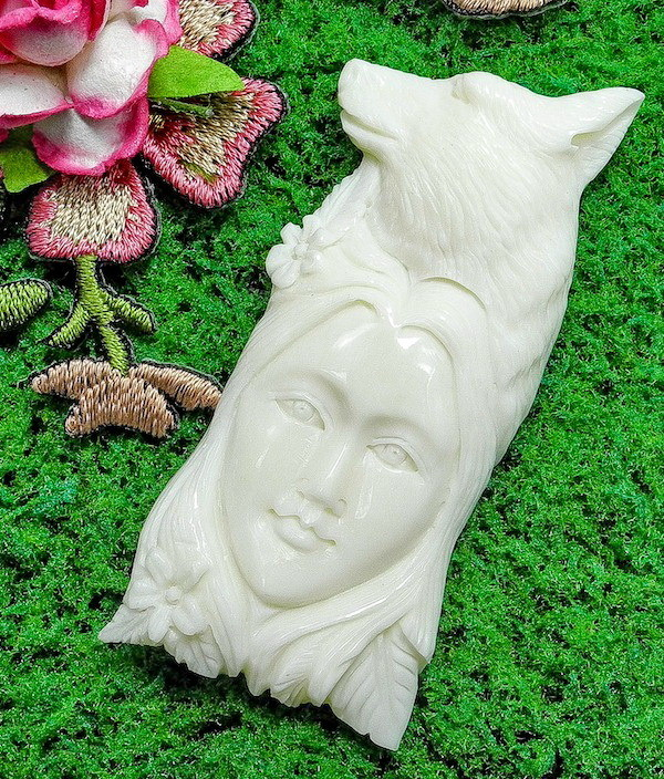 Spirit Wolf Goddess Bone Cameo Carving, Cab, NEW LOW PRICE!