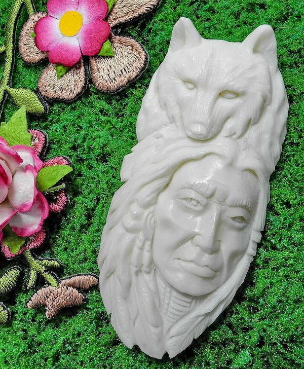 Wolf Spirit Tribal Shaman Totem Bone Carving NEW LOW PRICE!