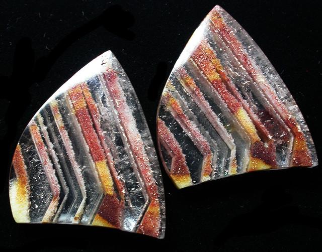 72.12 CTS   ZEBRA QUARTZ EARRINGS -UNDRILLED  [ST7485]