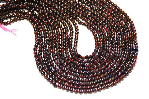 4mm Dark red round GARNET beads 13.5 inch  line