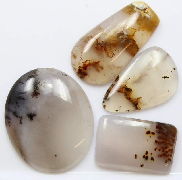 67.90 CTS - 4 PCS DENDRITIC AGATE PARCEL POLISHED STONES