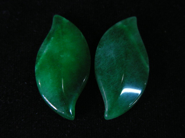 EMERALD GREEN DYED ONYX LEAVES CTS  11753
