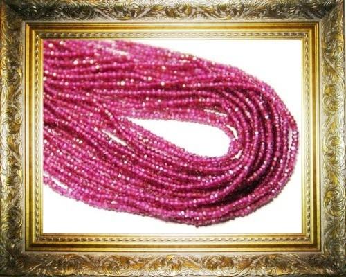 "Pink Rhodolite Garnet faceted beads 2mm 2.5mm AAA 14"" line"