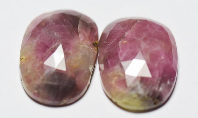 Pair of Ruby Gemstone Carvings 38.5ct 21mm
