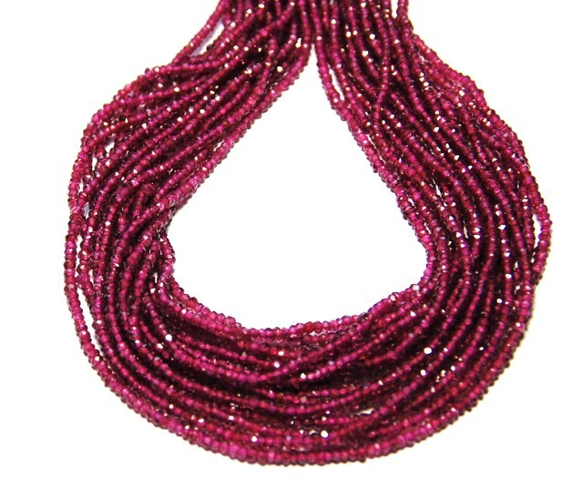 "*NEW STOCK* AAA Faceted Rhodolite Garnet beads 14"" 2-2.5m"