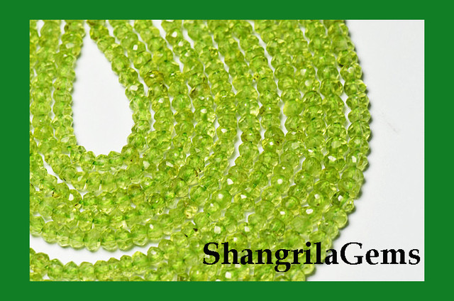 "NEW ITEM   AAA PERIDOT Israeli faceted beads 13"" line 4mm"