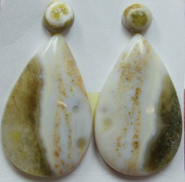 19.00 CTS OCEAN JASPER PAIR 4 STONES FOR EARRINGS