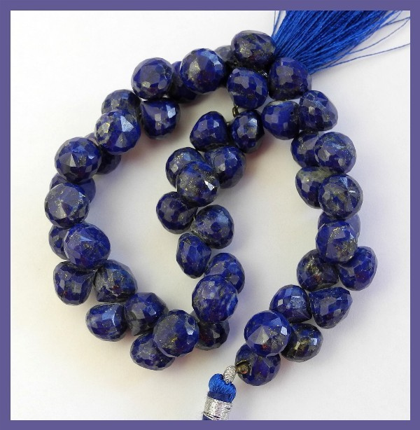 A+ LAPIS LAZULI 7-8.5MM FACETED ONION BRIOLETTE BEADS!!