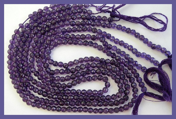 AA++ GORGEOUS 3.5-4MM AFRICAN AMETHYST FACETED ROUND BEADS!!