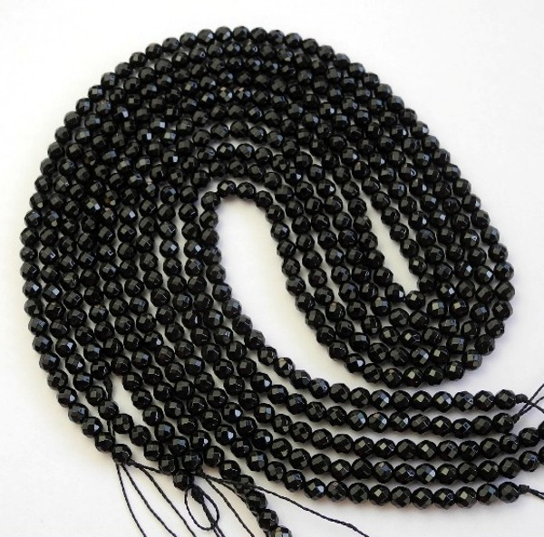 BEAUTIFUL AAA 4.00MM BLACK ONYX FACETED ROUND BEADS!!