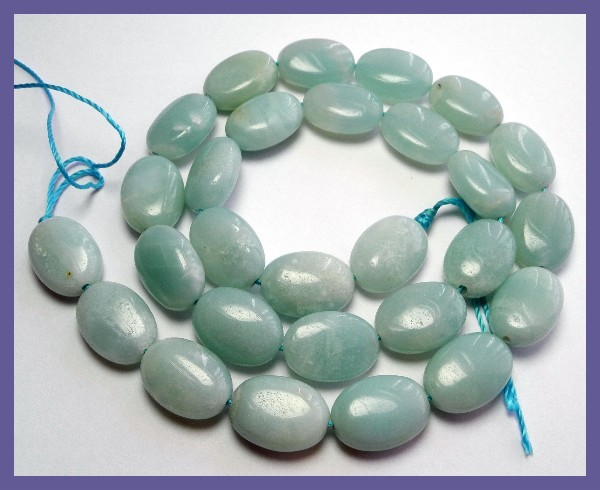 """AA++ 10.00X14.00MM AMAZONITE SMOOTH FLAT OVAL BEAD STRAND!!"""