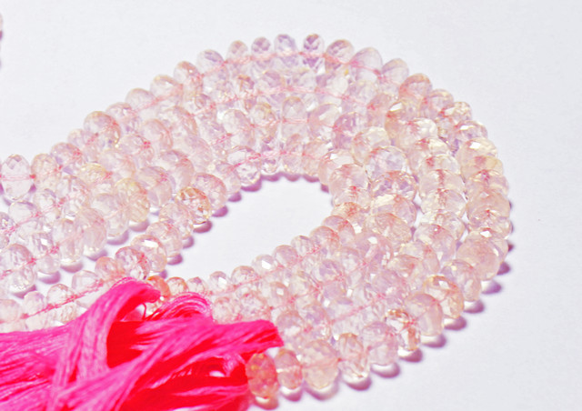 """6.5mm to 7mm pink ROSE QUARTZ beads faceted 10"""" line AAA"""