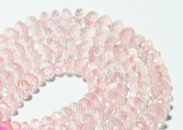 """6.5mm to 7mm ROSE QUARTZ faceted beads AAA 10"""" 25cm line"""