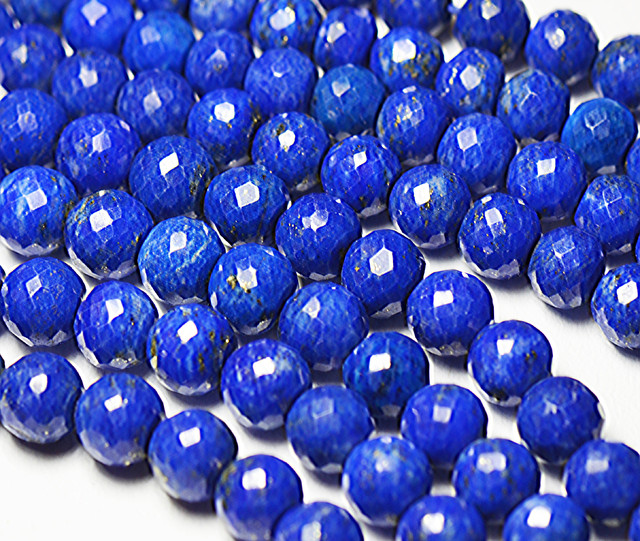 "4mm - 5.5mm Lapis blue round faceted beads 16"" line lapb06"