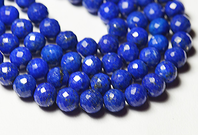 """16"""" line 4mm 5.5mm Lapis blue round faceted beads lapb06"""