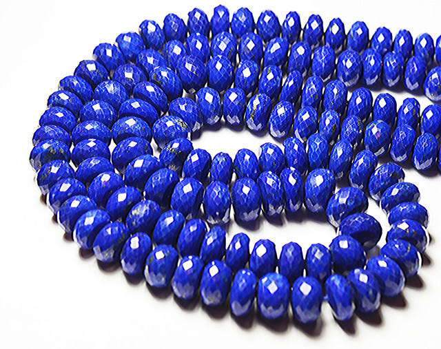 "AAA 8mm - 9.5mm blue Lapis faceted rondelle beads 16"" lapb07"