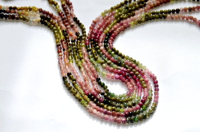 "Watermelon Tourmaline 2mm - 2.5mm round beads 14"" line"