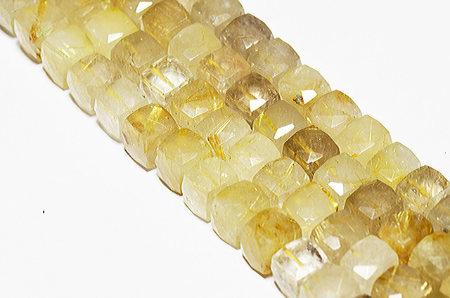 10mm Golden RUTILE QUARTZ faceted cube beads 8