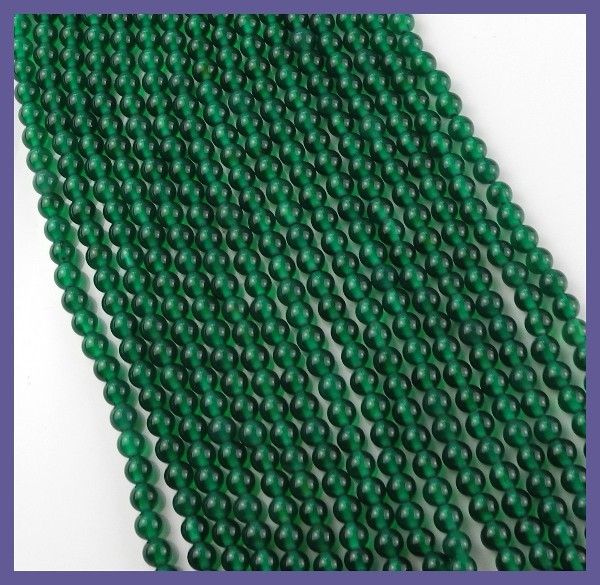 "AAA 4.00MM ""EMERALD"" GREEN ONYX SMOOTH ROUND BEAD STRAND!!"