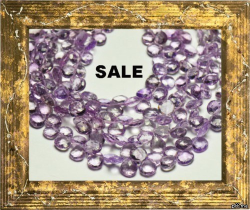 "SALE FROM $60 8"" 7mm LAVENDER AMETHYST briolettes drops"