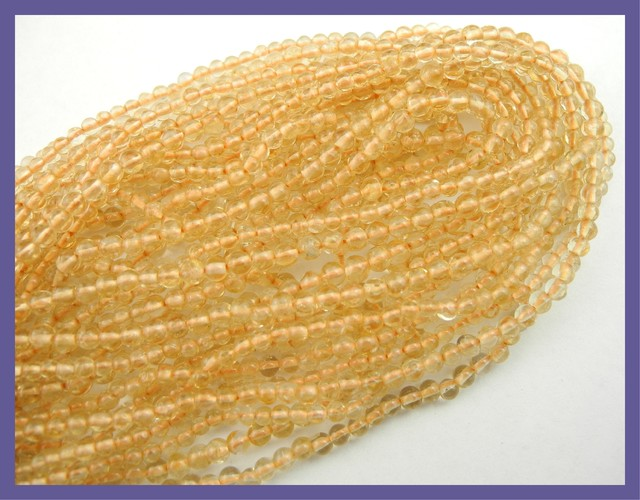 LOVELY 'A' GRADE 3.50-4.00MM PLAIN ROUND CITRINE BEAD STRAND
