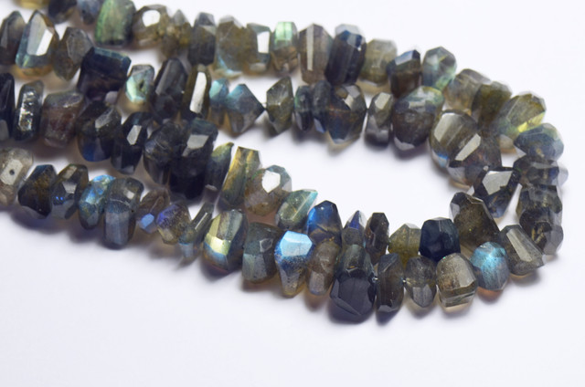 10mm LABRADORITE blur rough cut faceted beads 10