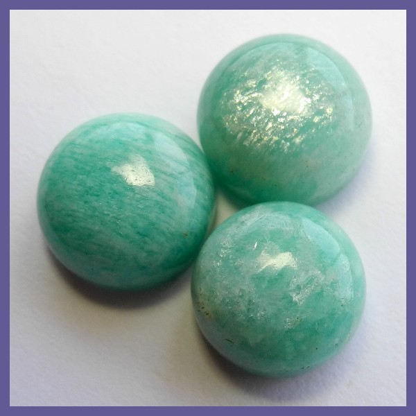 3 X AAA  10.85CT RUSSIAN AMAZONITE ROUND CABOCHONS!!