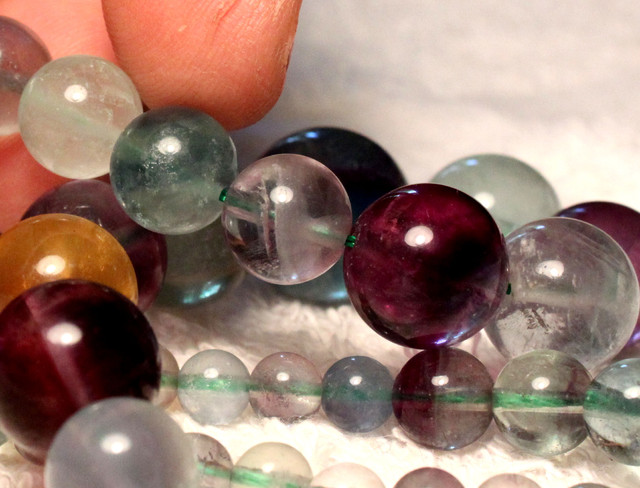 358.8 Tcw. Fluorite Strand, 17 inches, 5.8mm to 15.7