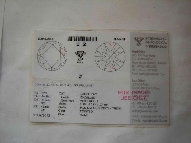 NATURAL-IGICERTIFIED DIAMOND-0.56CTWSIZE-1PCS,NR