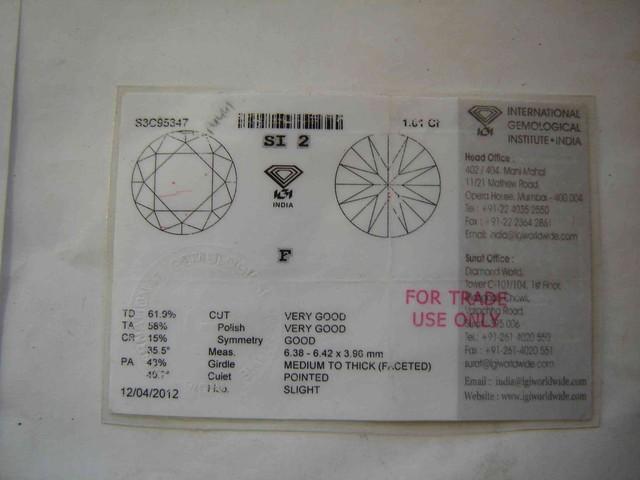 NATURAL-IGICERTIFIED F-SI-2,DIAMOND-1.01CTWSIZE-1PCS,NR