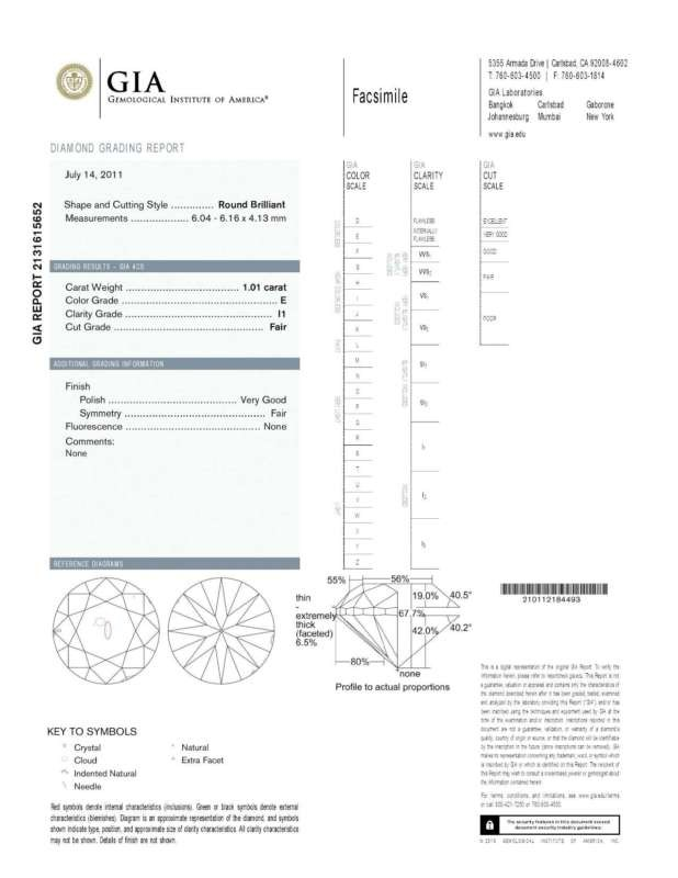 1.01ct Round Brilliant Diamond E-I1 GIA CERTIFIED NR