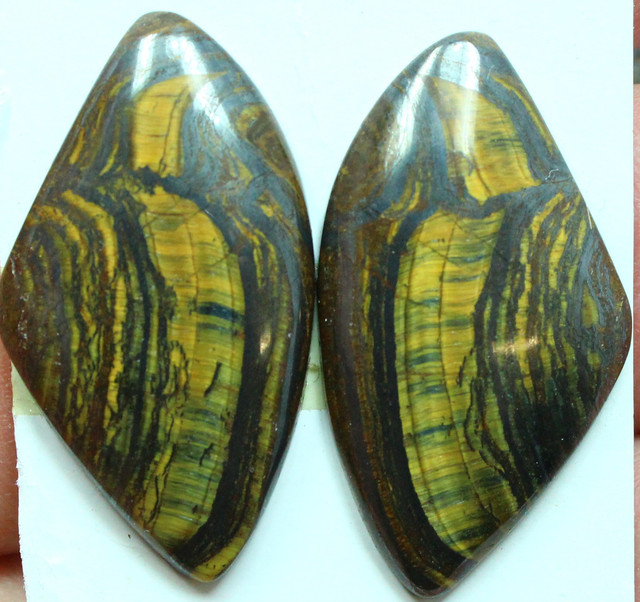 32.75 CTS TIGER EYE PAIR OF GOOD SIZE STONES