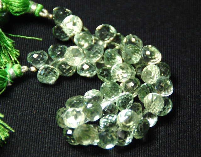 GREEN AMETHYST onion briolettes 24 large 10 to 10.5mm