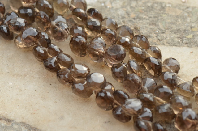 25 SMOKEY QUARTZ ONION FACETED briolettes 9mm AAA
