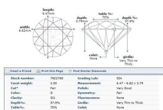 1.00ct Round Brilliant Diamond G-SI1 GIA CERTIFIED NR