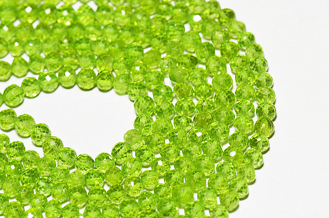 "NEW ITEM   AAA PERIDOT round faceted beads 14"" line 4mm"