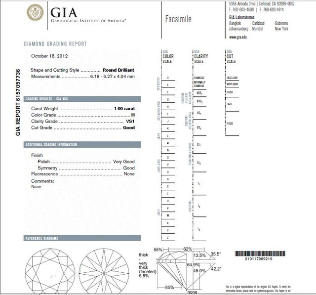 1.00ct Round Brilliant Diamond H-VS1 GIA CERTIFICATION NR