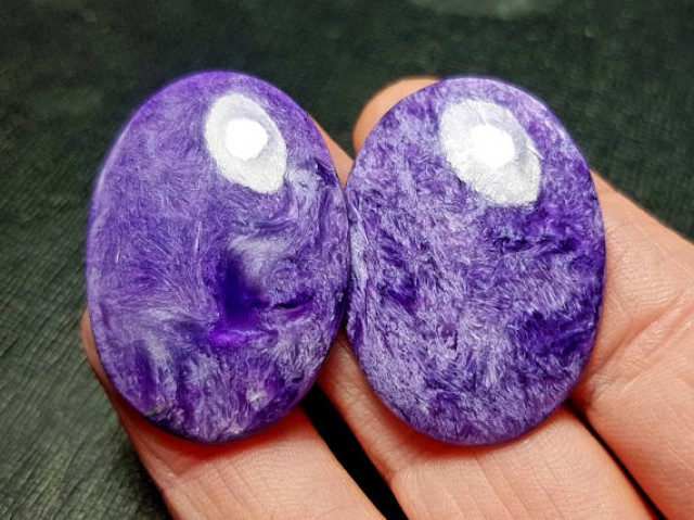 36mm 67ct Charoite pair cabochon AAA