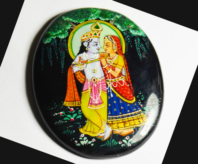 Hand painting of Gods Krishna & Radha on black onyx 67mm