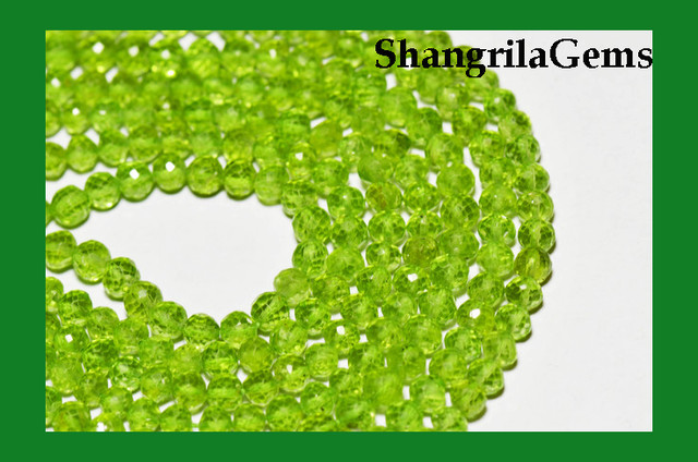 """AAA PERIDOT round faceted beads 14"""" line 4mm PER002"""